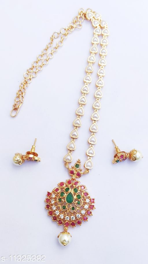 Hanaa One Gram Gold Polished Jewellery Set( Ruby Green)