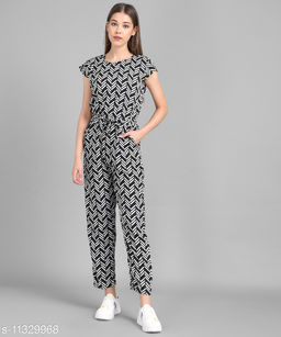 Women Black Line Printed Front Knot Jumpsuits