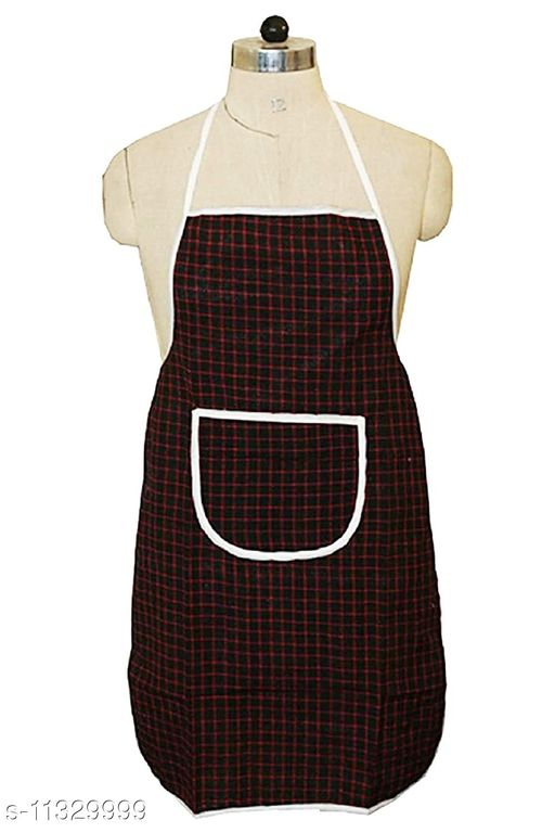 Groki Cotton Blend Checkered Design Kitchen Apron with Front Pockets (Multicolor, Pack of 1)
