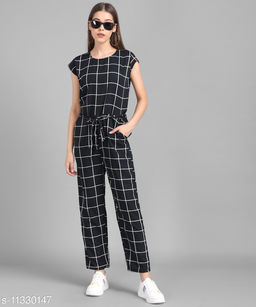 Women Black Check Front Knot Printed Jumpsuits