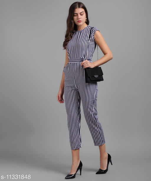 Women Nevy Blue Small Stripe Printed Front Knot Jumpsuits