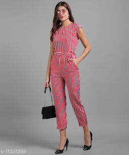 Women Red Stripe Printed Front Knot Jumpsuits