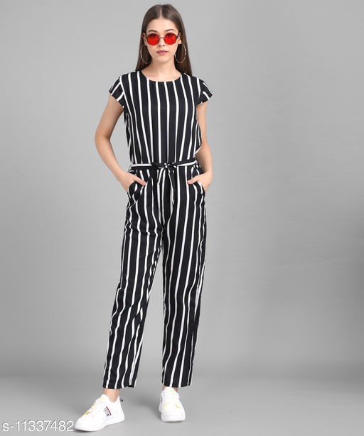 Vivient Black Big Stripe Printed Front Knot Jumpsuits