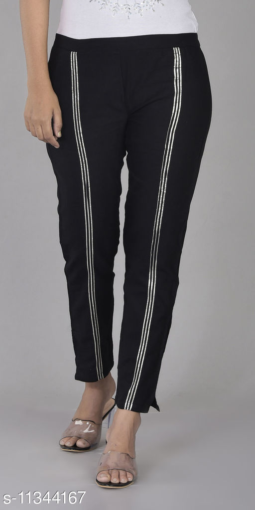 RSC Cotton Pant/ Trouser for Women's/ Girl's with Gota Work (Black)