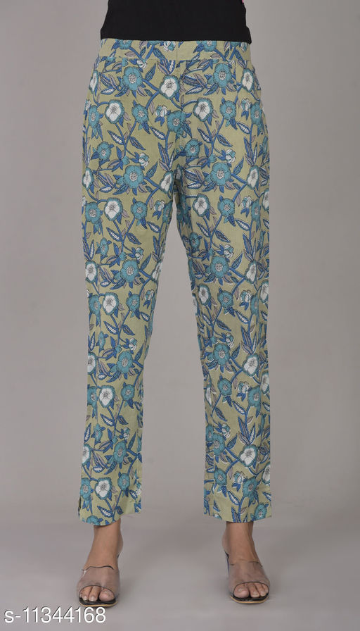 RSC Printed Cotton Pant/ Trouser for Women's/ Girl's (Blue Green)