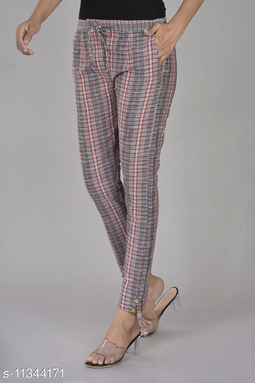 RSC Checked Cotton Pant/ Trouser for Women's/ Girl's (Grey)