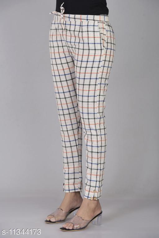 RSC Checked Cotton Pant/ Trouser for Women's/ Girl's ( White)
