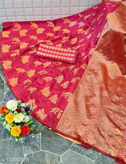 Henzila  Woven design  Synthetic  Saree With Blouse Piece (Pink)