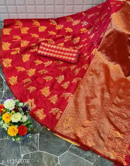 Henzila  Woven design  Synthetic  Saree With Blouse Piece (Red)
