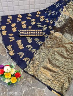 Henzila  Woven design  Synthetic  Saree With Blouse Piece (Navy Blue)