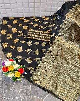 Henzila  Woven design  Synthetic  Saree With Blouse Piece (Black)