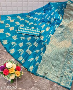 Henzila  Woven design  Synthetic  Saree With Blouse Piece (Light Blue)