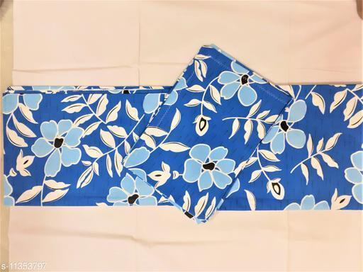 Raksitha Cotton - 100% Cotton - Blue Colour Floral Design Queen Size Bedspread with 2 Pillow Covers - Flower (70 x 90 Inch)