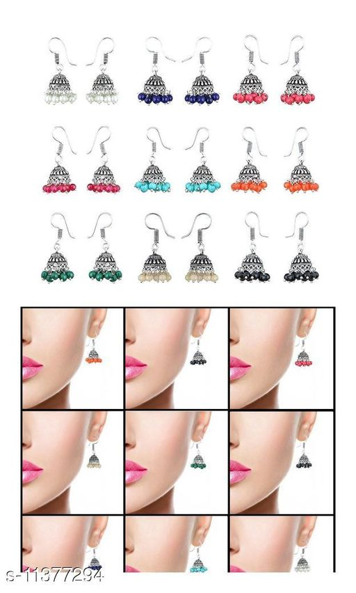Combo of Germnan Silver Jhumki in 9 different color - Jhumki of 9 combo