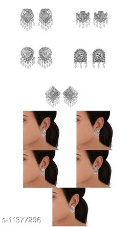 Combo of Germnan silver 5 stud earring with White bead - 5 combo in White bead