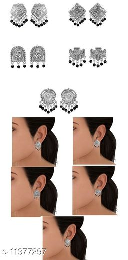 Combo of Germnan silver 5 stud earring with black bead - 5 combo in black bead