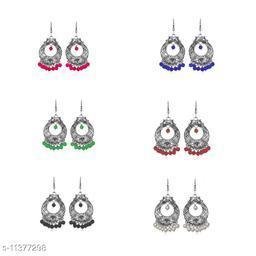 Combo of Oxidised sivler 6 dangler earrings in different color - 6 combo of dangler