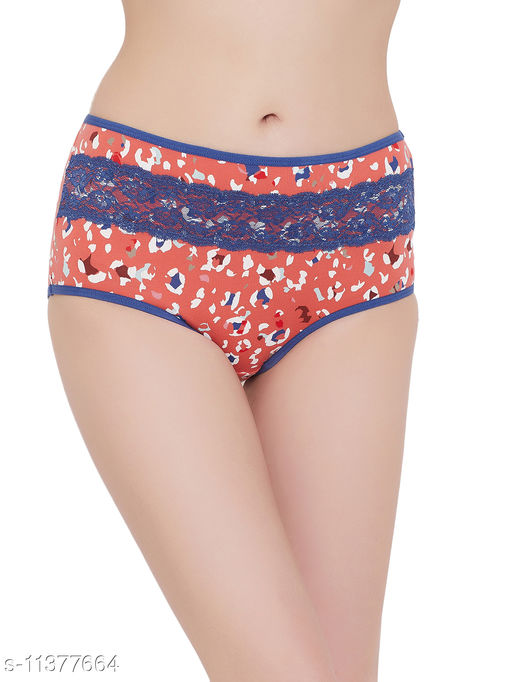 Clovia High Waist Printed Hipster Panty with Lace Insert in Coral Orange - Cotton