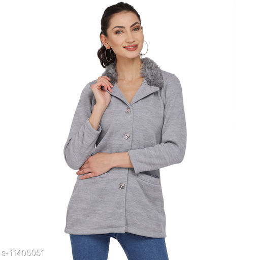 Light Grey BLAZER with Fur Collar work for women with a Facemask worth Rs 89 absolutely FREE