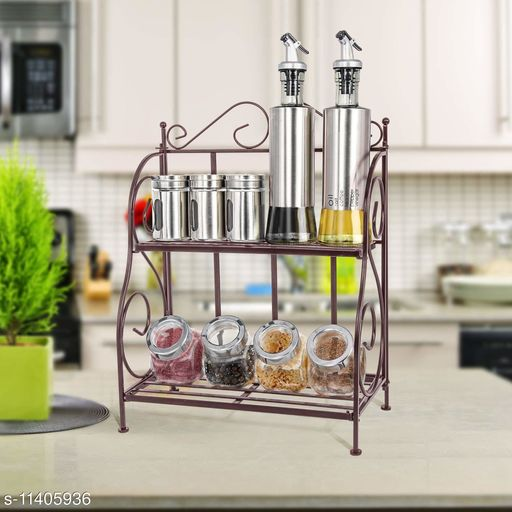 FS Traders 2-Tier Foldable Wrought and Cast Iron Spice Shelf Rack Kitchen Bathroom Countertop Storage Organizer (Black)