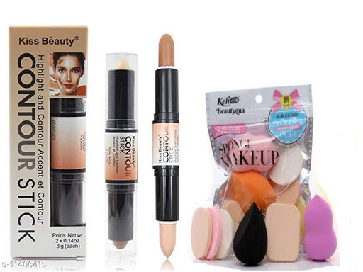 Ultimate combo of 2 IN 1 3D  Concealer & Contouring Stick with Makeup puff combo of applying