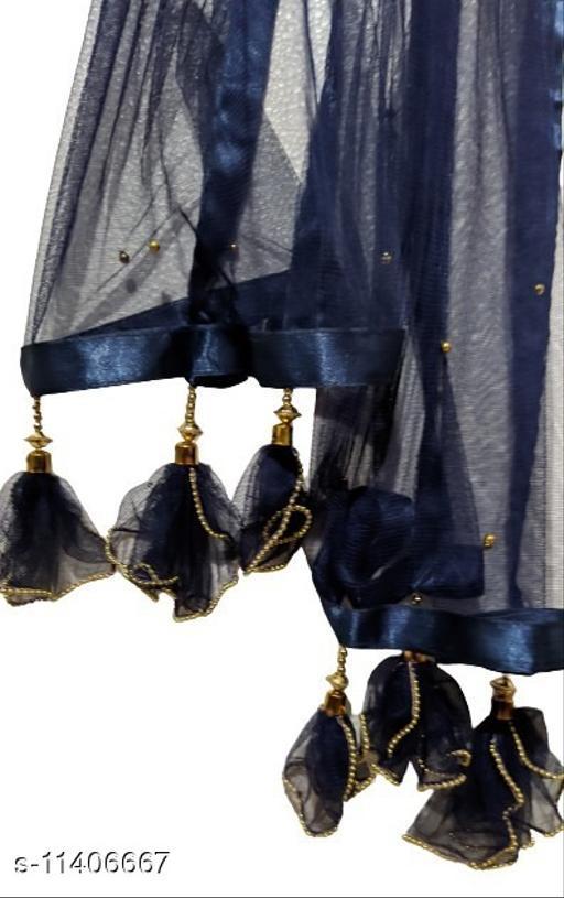 Beautiful Dark Blue (Navy Blue) Designer Net Dupatta with Golden Pearly Tassels (2.1m)