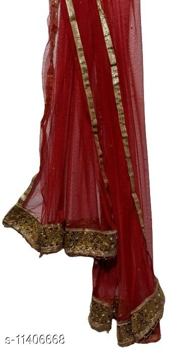 Suhaagan Red (Laal) Net Dupatta with Intricate Gold Border with Golden Pearls Embellishment (2.1m)