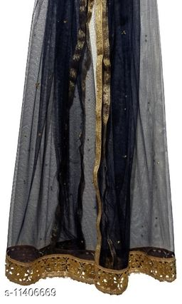 Dark Blue (Navy Blue) Net Dupatta with Intricate Gold Border with Golden Pearls Embellishment (2.1m)
