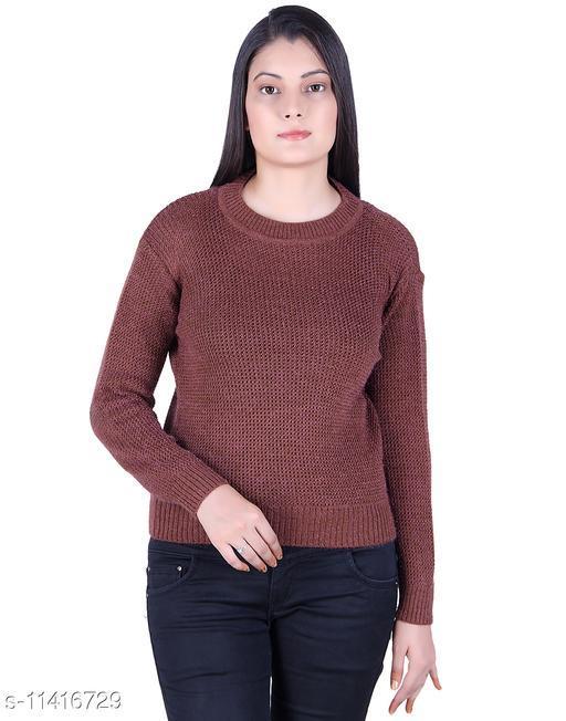Ogarti woollen full sleeve Round neck DK Camel colour Women's  sweater