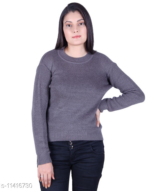 Ogarti woollen full sleeve Round neck St Grey colour Women's  sweater