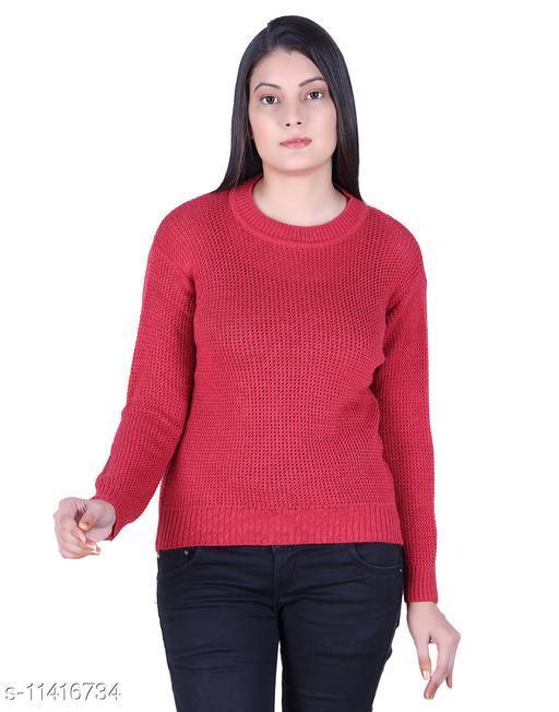 Ogarti woollen full sleeve Round neck Coral colour Women's  sweater
