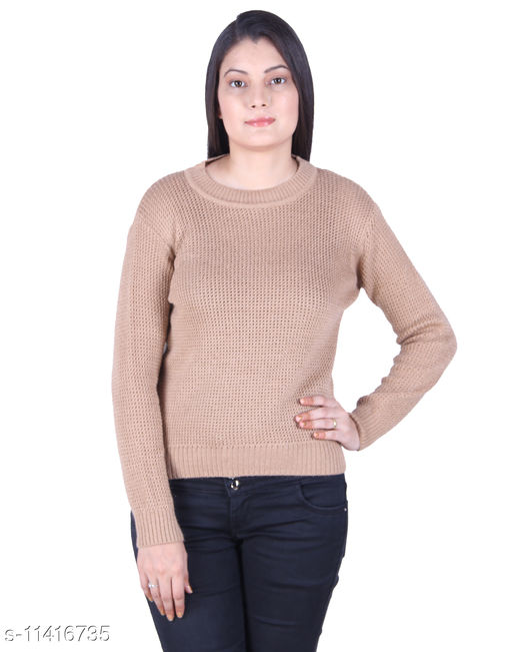 Ogarti woollen full sleeve Round neck Camel colour Women's  sweater