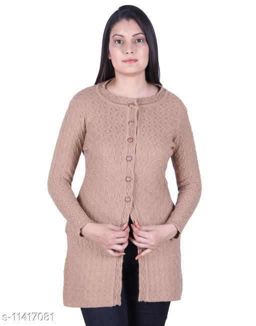 Ogarti Woollen Camel Colour Women's Long cardigan