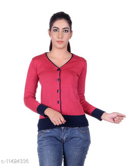 Ogarti woollen V neck coral colour women's cardigan