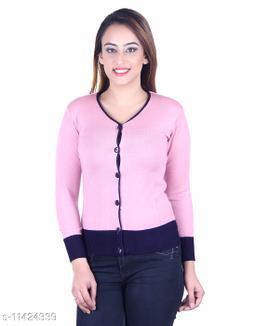 Ogarti woollen V neck Pink colour women's cardigan