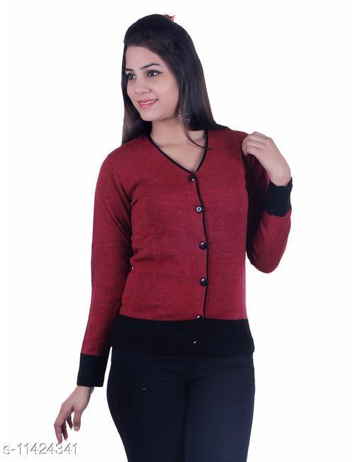 Ogarti woollen V neck Maroon colour women's cardigan