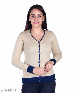 Ogarti woollen V neck Skin colour women's cardigan