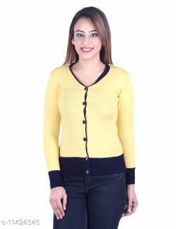 Ogarti woollen V neck yellow colour women's cardigan