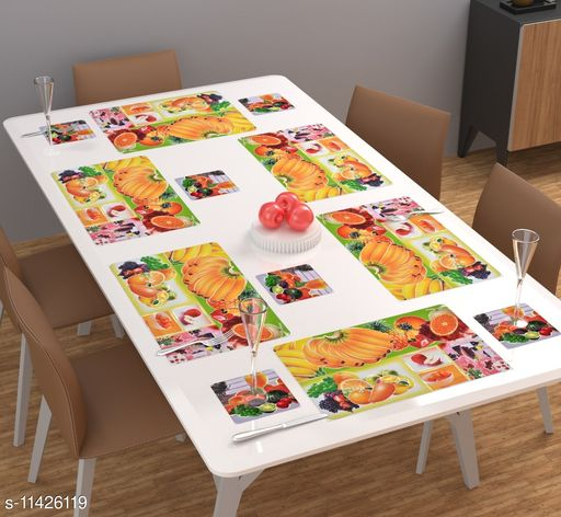 Ace N King Design PVC 6 Piece Dining Table Placemat Set with Tea Coasters