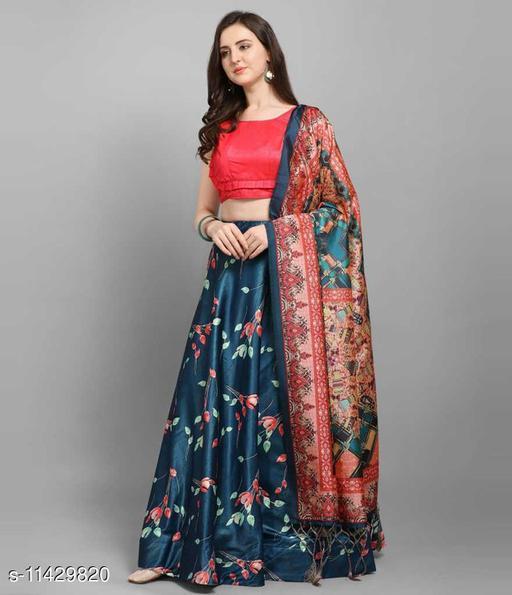 FotoableArc Digital Print, Floral Print Semi Stitched Lehenga Choli