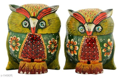 Show pieces Classy Wood Home Decors Hand Painted Owl (Set Of 2)  *Material* Wood  *Size* 4 in  *Description* It Has 2 Pieces Of Home Decor Hand Painted Owls  *Work* Hand Painting Work  *Sizes Available* Free Size *   Catalog Rating: ★4 (32)  Catalog Name: Free Gift  Traditional Elite Home Decors Vol 16 CatalogID_141910 C127-SC1615 Code: 593-1143675-