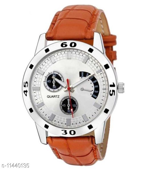 Latest Borwn Leather Analog  Watch For Boys and Mens