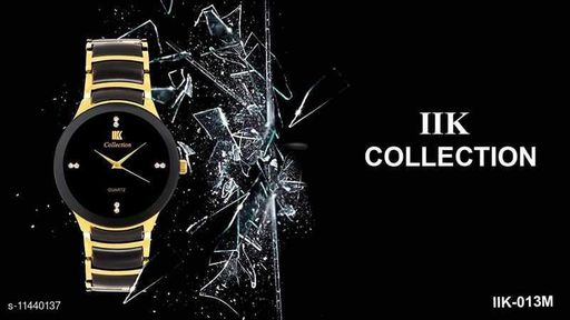 Arzonai Latest Black Dial Metalic Watch for Men And Boys