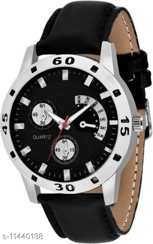 Arzonai Trendy Black Leather Watch For Men And Boys