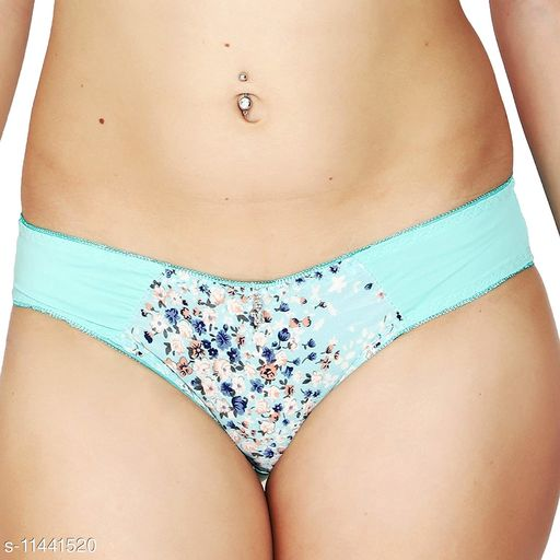 Women Seamless Aqua Blue Polyester Panty (Pack of 2)