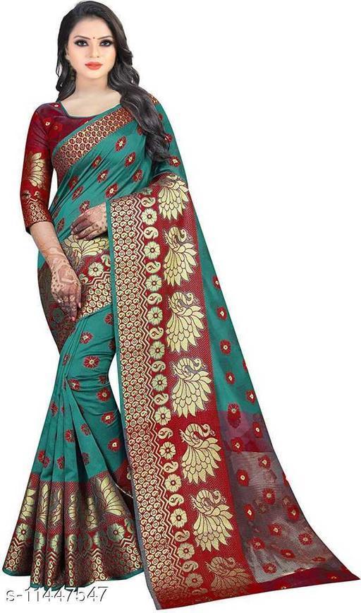 Cotton Silk Jacquard Stylish Women Sarees