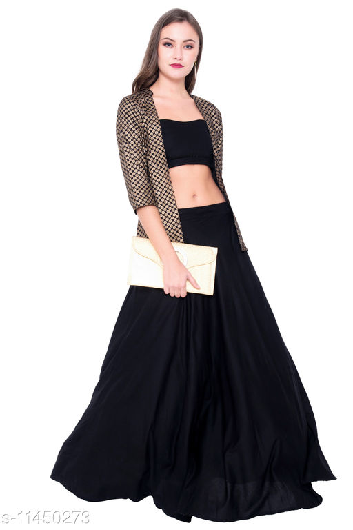 Black Colored Solid Rayon Printed Skirt With Tube With Jacket