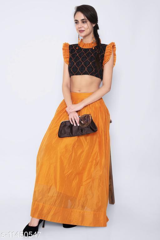 Orange Colored Chanderi Printed Skirt With Crop Top