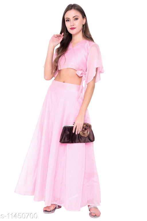 Pink Colored Chanderi Printed Skirt With Crop Top