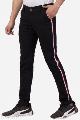 Fashionable Skinny Black Jeans with Stripes for Men